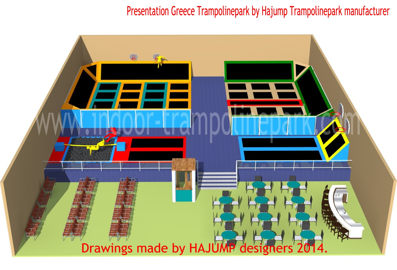Indoor trampoline park cyprus hajump trampolines for Indoor trampoline park design manufacturing